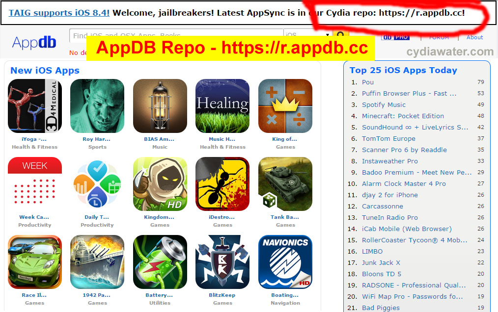 Download AppDB repo to Install iOS Cracked Apps and Free
