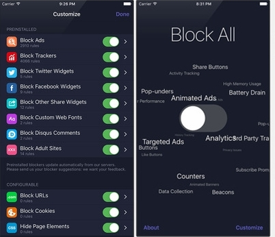 1Blocker Ad Blocker iOS 9
