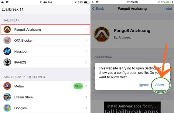 Download Cydia on iOS 11 with Anzhuang Jailbreak - Cydia Download
